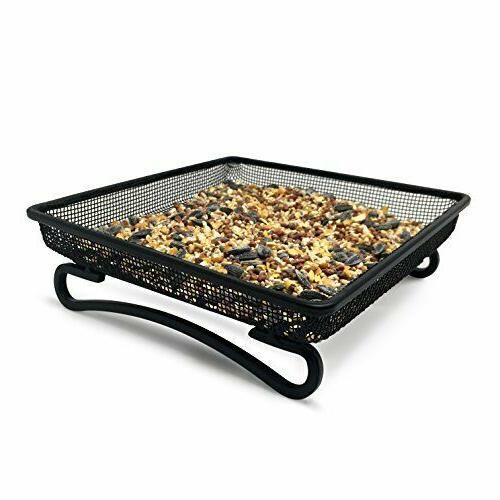 Ground Cast Iron Bird Feeder Tray Durable Compact Platform Size 7 x inch