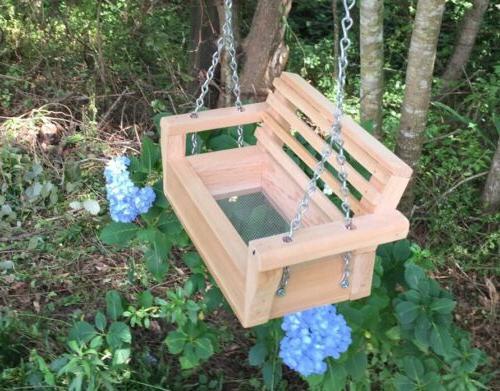 handmade cedar swing bird squirrel feeder