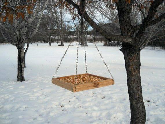 Hanging Tray Feeder Wood Bird