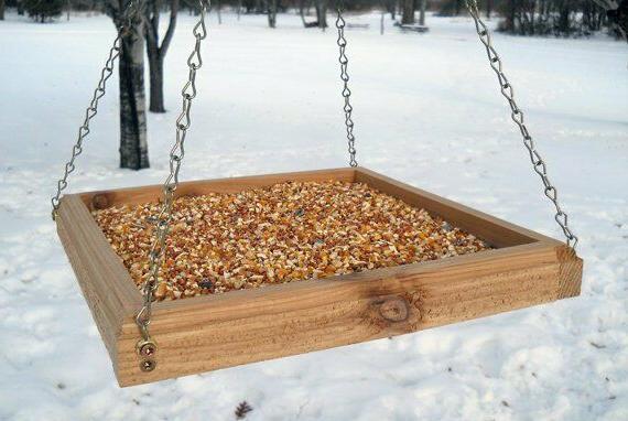 hanging bird feeder tray bird feeder wood