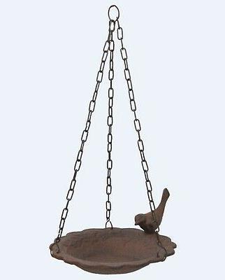 Hanging Birdbath Feeder Cast Iron Patio Garden Yard by Upper