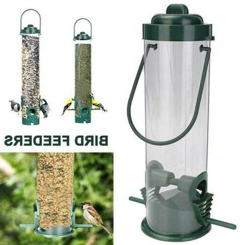 Hanging Wild Bird Feeder Seeds Durable Container Hanger Gard