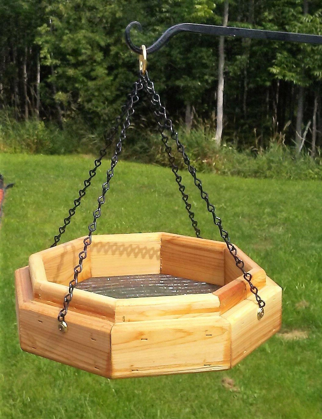 Handmade hanging octagon platform cedar wood feeder, TBNUP