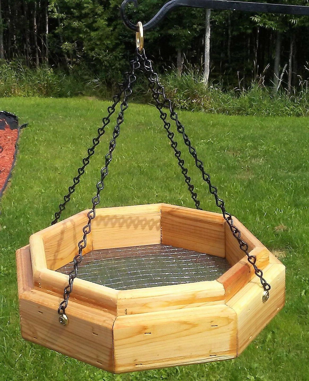 hanging octagon platform cedar wood bird squirrel
