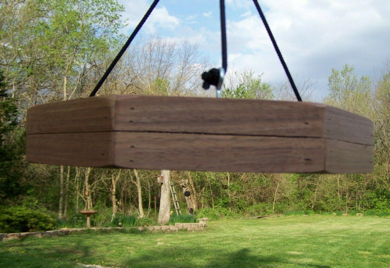 Hanging platform/tray hand made black walnut outdoor