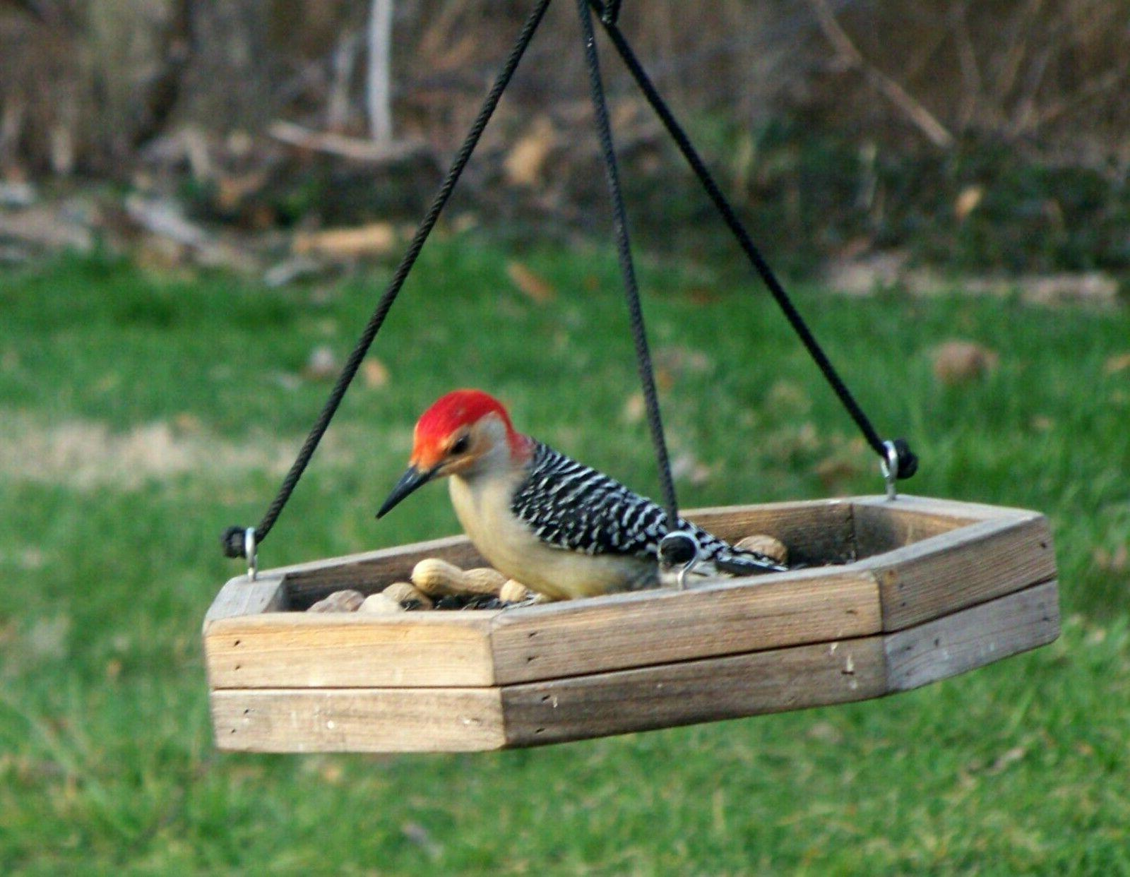 Rustic ~ Hanging Wood Tray ~ Platform Bird Feeder