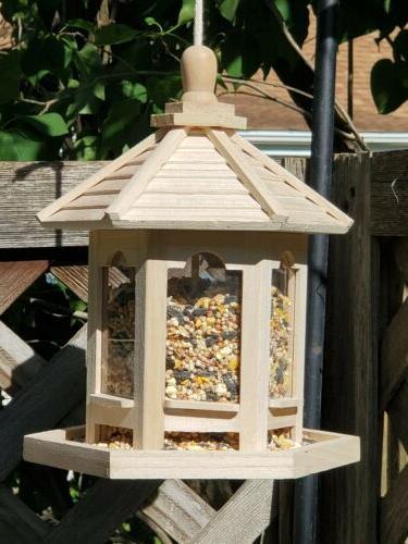 hanging wooden gazebo wild bird feeder garden