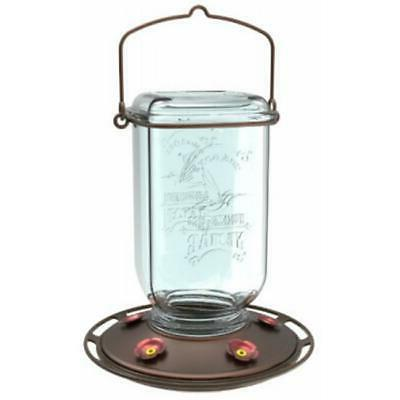 Hummingbird Feeder, Clear Mason Jar, 25-oz.