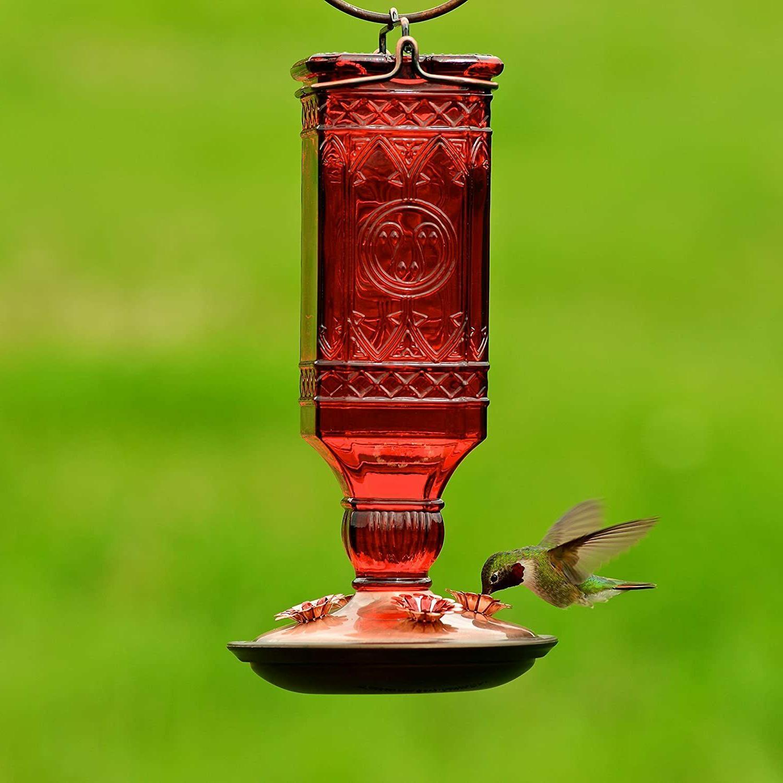 hummingbird feeder dark red glass antique bottle