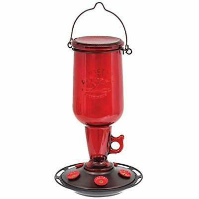 hummingbird feeder vintage red glass