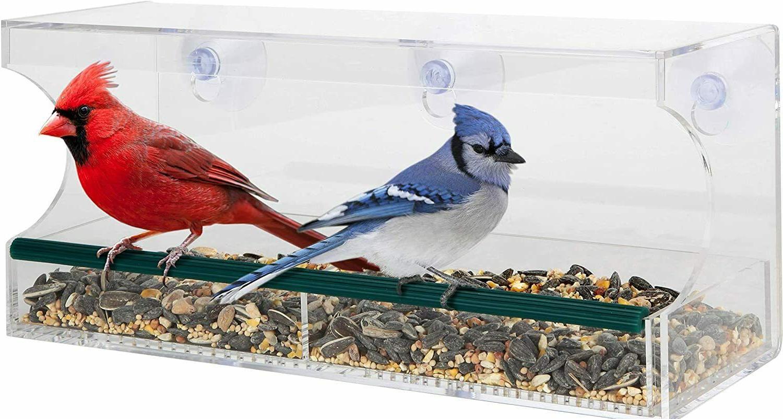 large acrylic window bird feeder w removable