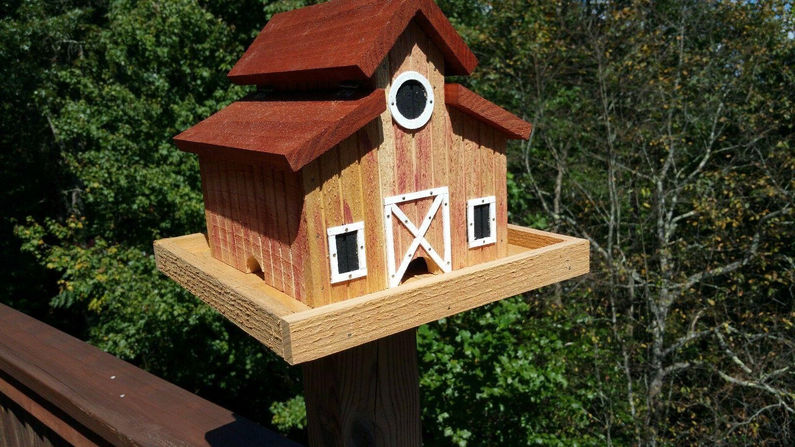 Little Red Barn Bird Feeder Solid Cedar Wood Handcrafted in