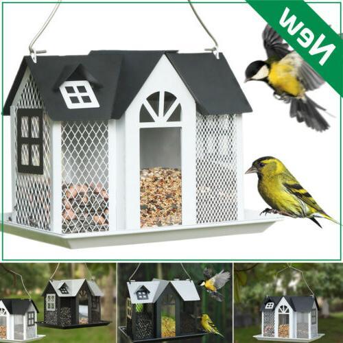 metal mesh triple bird feeder squirrel proof