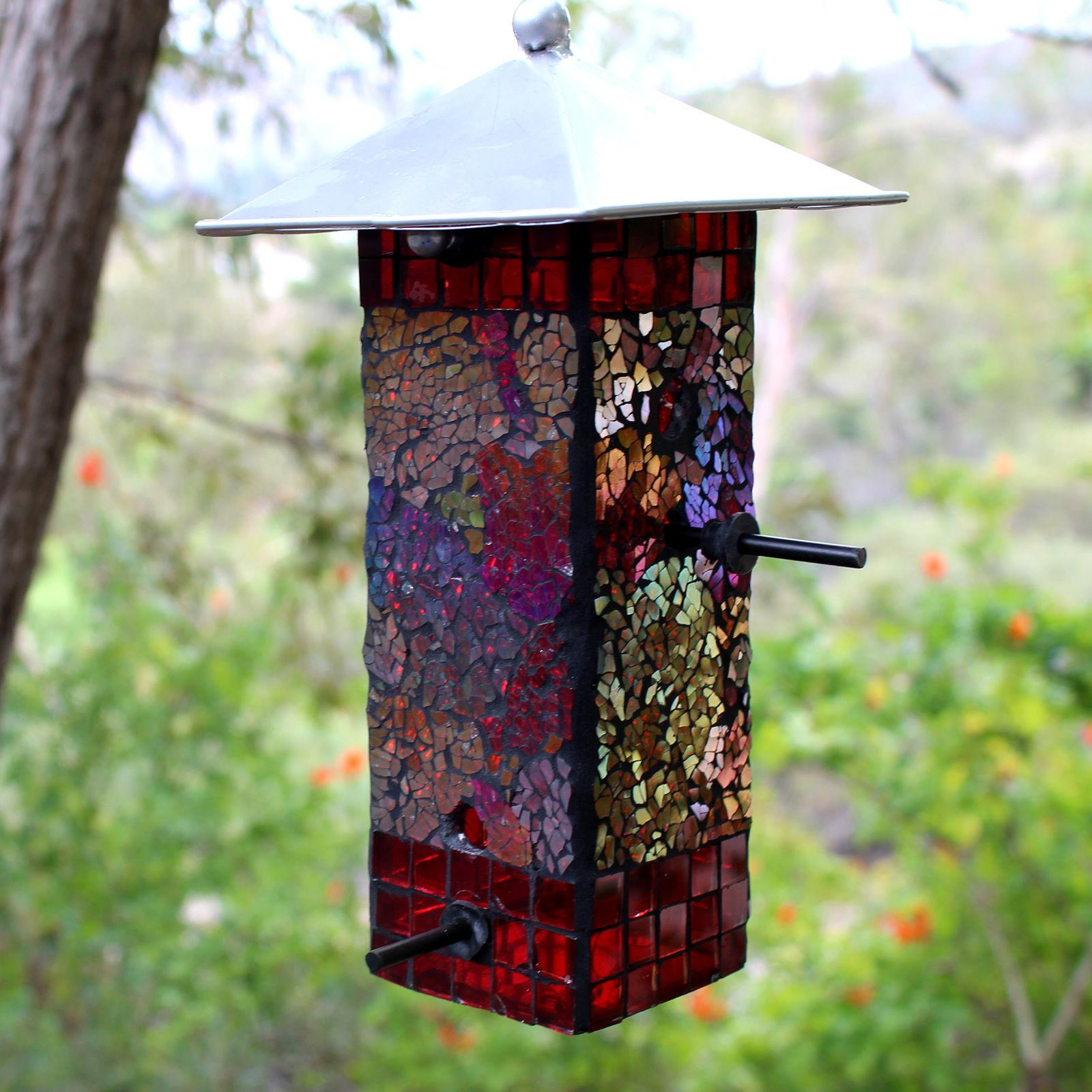 Mosaic Stained Glass Feeder Large Capacity NEW Yard Art Metal Top