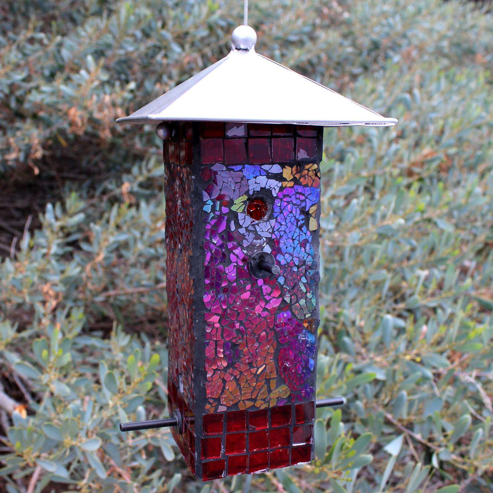 Mosaic Stained Glass Feeder Large Capacity NEW Yard Art Top