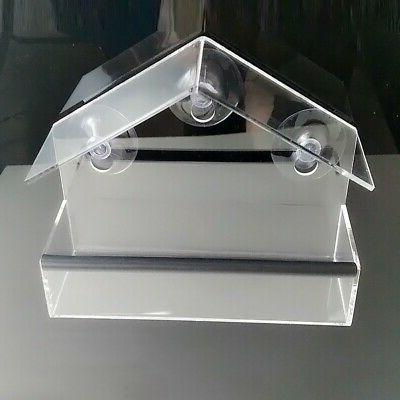 Window Bird Feeder Acrylic Suction Cup Clear Squirrel Tray B