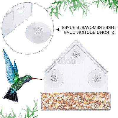 Outdoor Bird Window Acrylic Suction Cup Mount Birdhouse Garden
