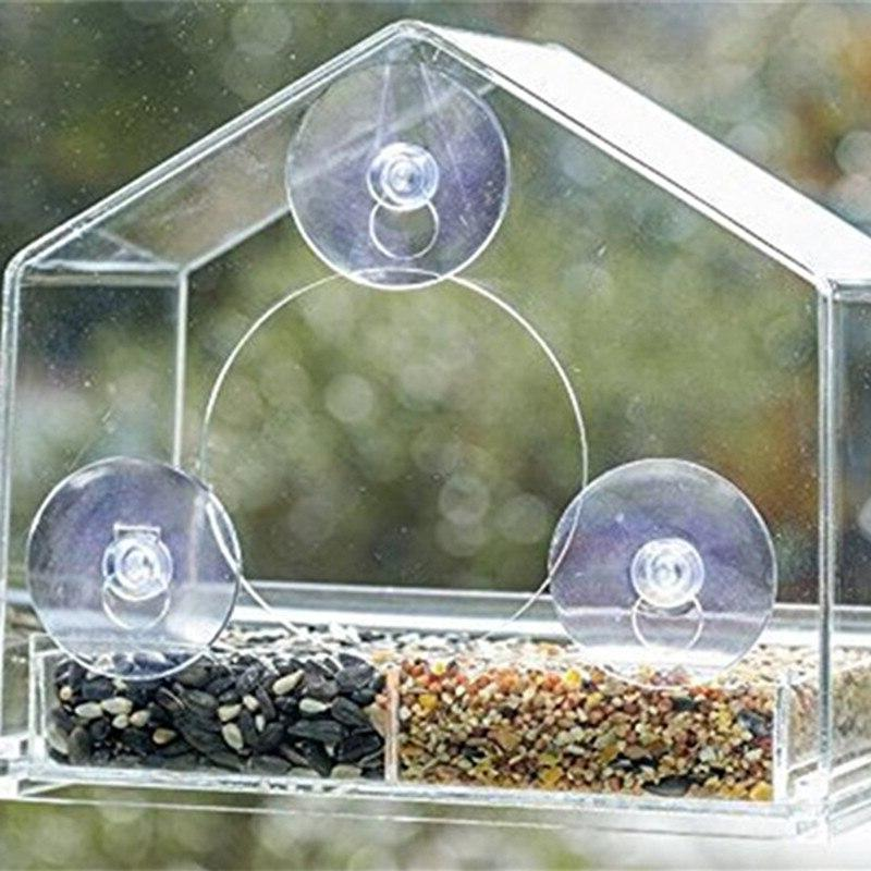 Parrot Lovebird Aviary Transparent <font><b>Window</b></font> Outdoor <font><b>Feeder</b></font> Container Pet Supplies