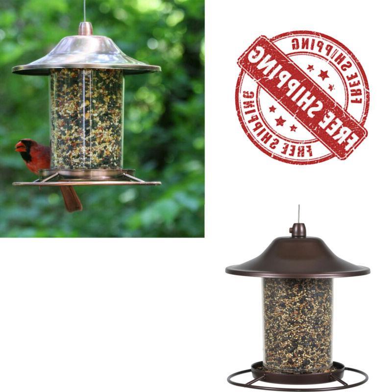 perky pet copper panorama bird feeder circular