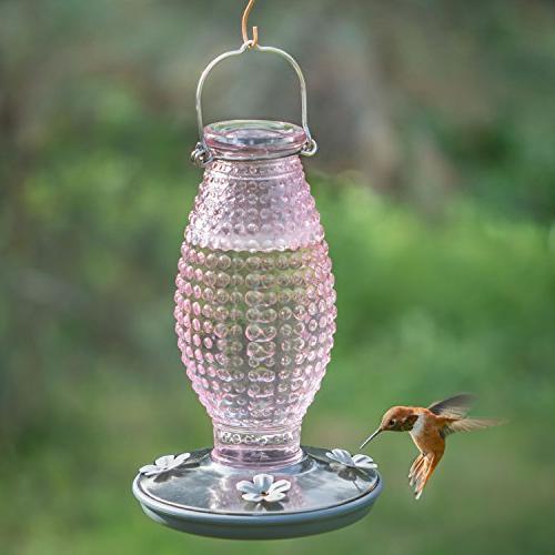 Perky Cranberry Hobnail Vintage Glass Feeder