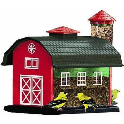 Red Barn Bird Feeder Combo Hanging Pole Mount Bird FEEDER SO