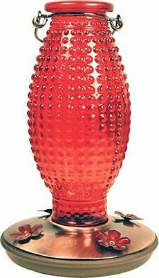 Perky-Pet Red Hobnail Vintage Glass Hummingbird Feeder 8130-