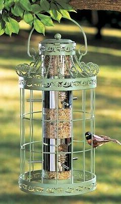 round steel cage tree hanging bird seed