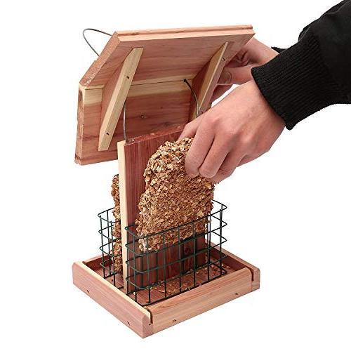 Homes Suet Wild Bird Cedar Wood Double Suet Woodpecker Hummingbird Sparrow #G-8471