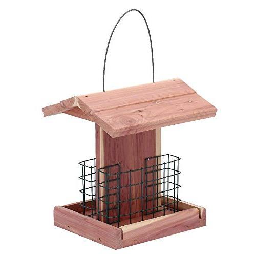 Homes Garden Bird Feeder Cedar Double Outdoor Woodpecker #G-8471