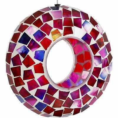 Sunnydaze Crimson Glass Mosaic Fly-Through Hanging Outdoor B