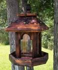 Tall hanging cedar wood gazebo style bird feeder, square, TB