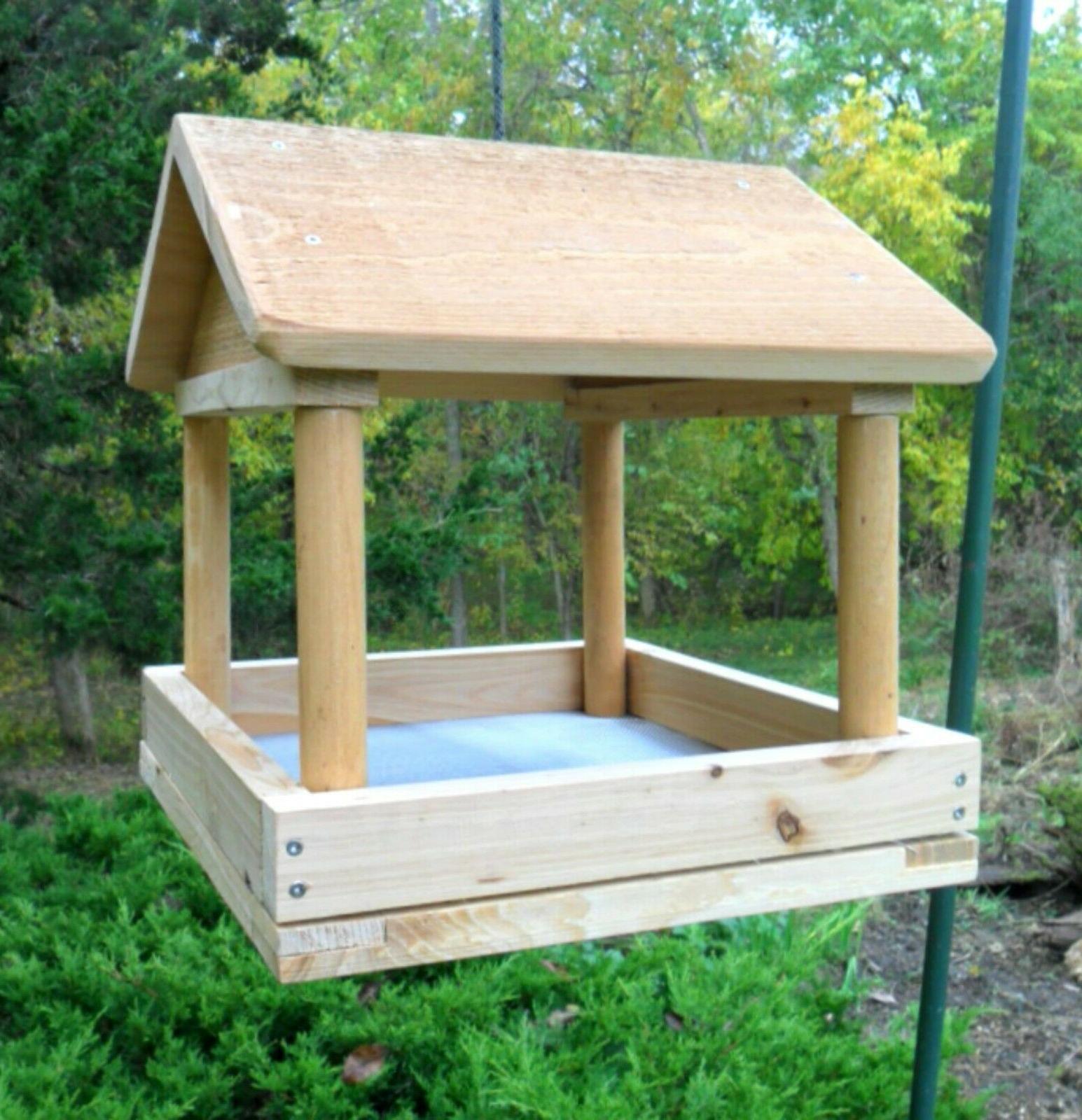 Handcrafted Tray Bird Large Wood Platform Feeders, Hanging