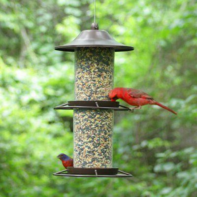 Two Level Bird Seed Feeder Outdoor Garden Home Decor Squirrel Proof