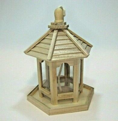 unfinished wood bird seed feeder ready to