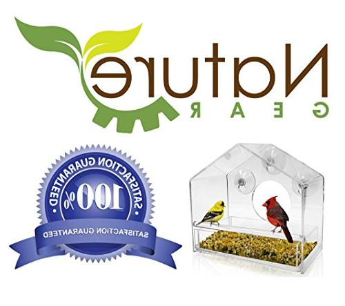 Nature Window Bird Feeder - Tray - Weather - and Resistant Drains Water See from