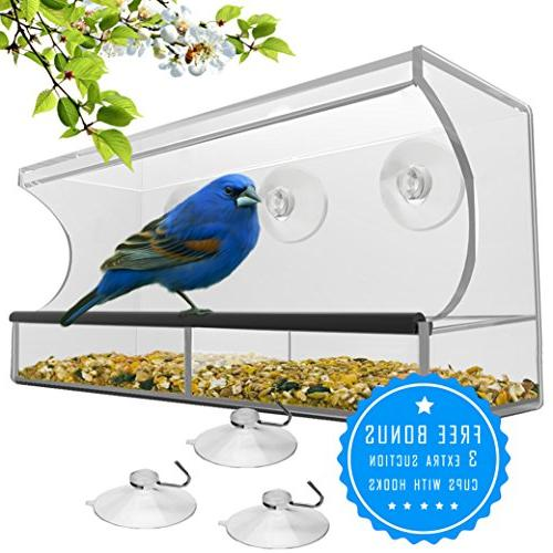 Best Window Bird Feeder with & Seed Birdfeeders for Wild Birds, Finch, Outside Birdhouse Drain 3 Extra