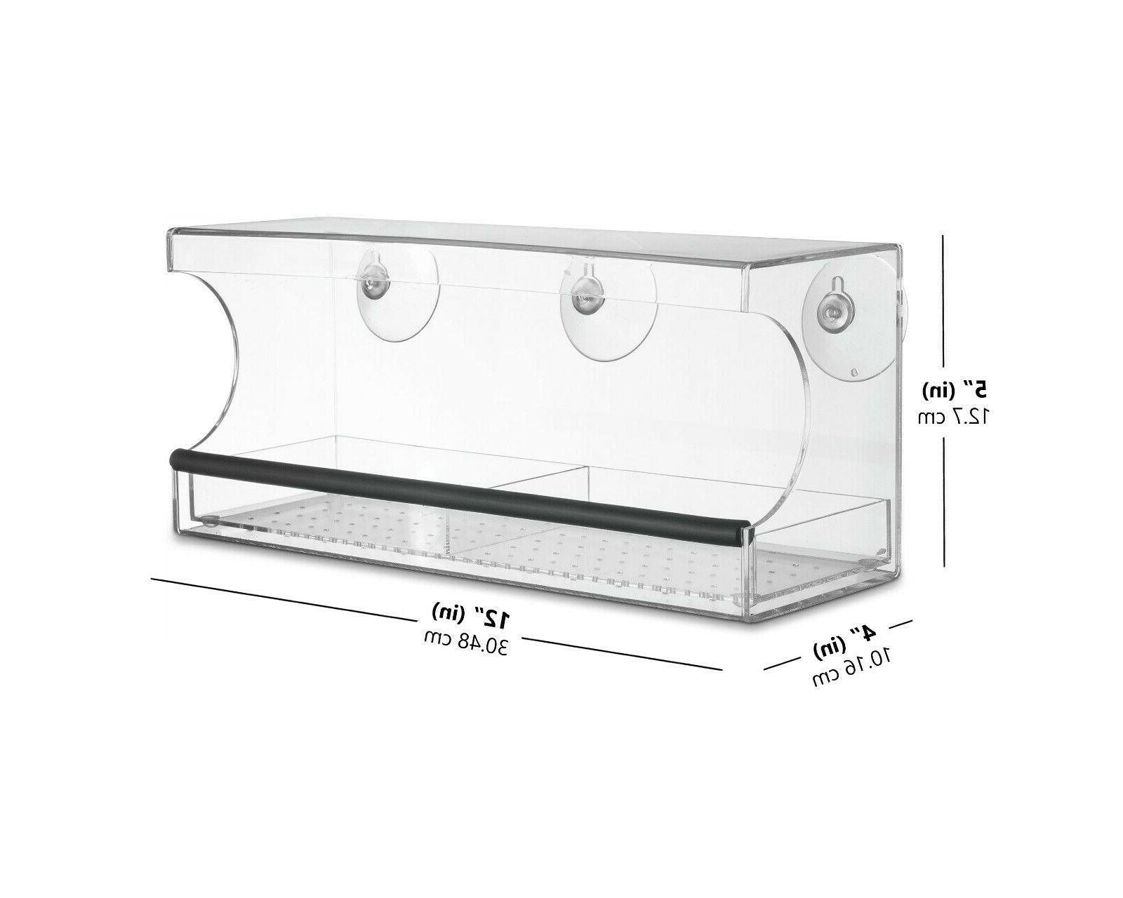 Window FEEDER, Strong Suction Cups, with Drainage, Acrylic