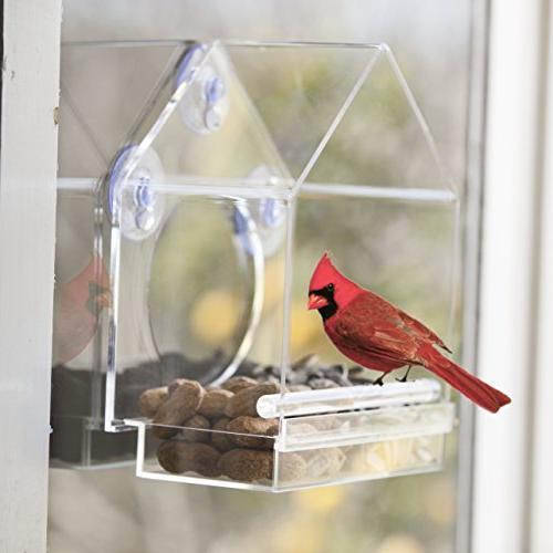 Window Bird Feeder House by Sliding Feed