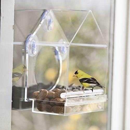 Window Bird Feeder House by Nature Sliding Feed Tray