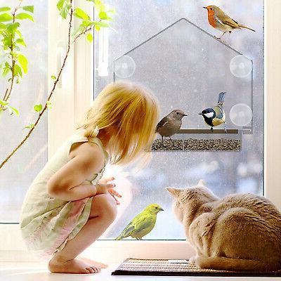 Window Large Bird Outside. Removable Sliding With