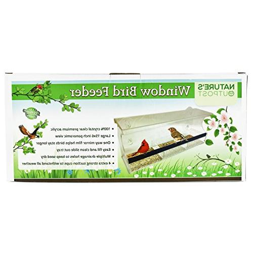 Nature's Outpost Window Feeder | Way Mirror | Tray | Strong Suction Cups Clear 20% Larger, View