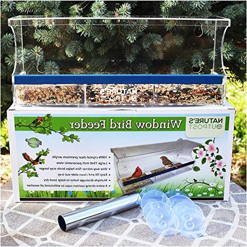 Nature's Window Feeder Mirror | Tray Holes | Extra Strong Cups | 100% Crystal Clear Larger, inch View