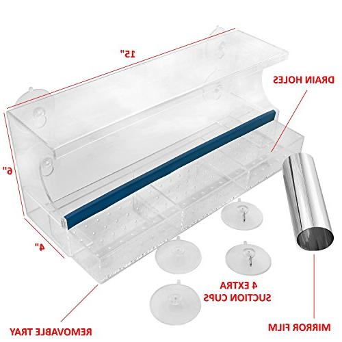 Nature's Feeder One Way Mirror Film Tray with Drain Holes Cups   Clear Larger, inch Panoramic View