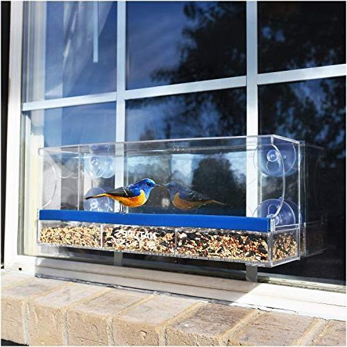 Nature's Outpost Feeder Mirror Tray | Cups Clear Acrylic | 20% Larger, View