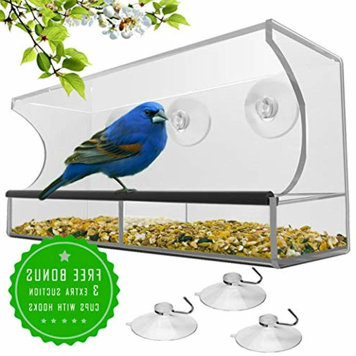 Window Bird with Strong Cups Seed Tray, Outdoor Birdfeeders f