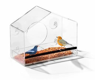 Window Bird Watch Home Feeder Refillable Sliding Tray Weathe