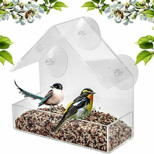 1 x Plastic Clear House Window Bird Feeder Birdhouse Suction