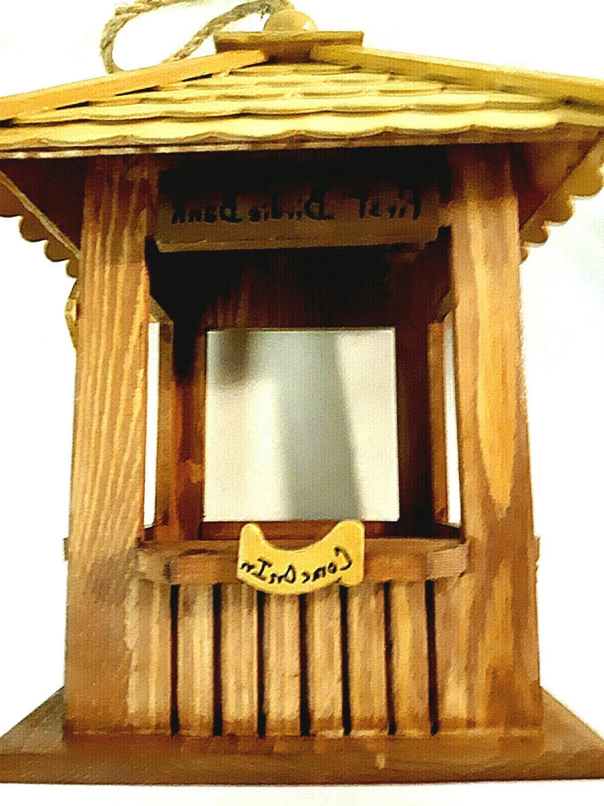 "Wood Hanging Feeder ""First Birdie Bank"""