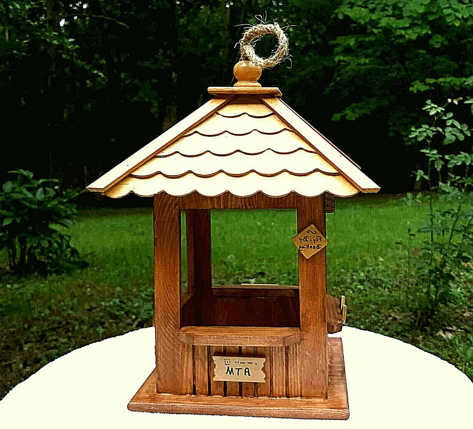 "Wood Hanging Gazebo Feeder ""First Birdie"