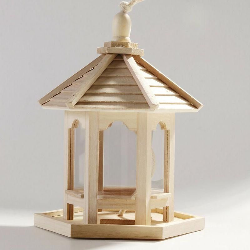 Wooden Bird Hanging Hexagon Shaped With Roof for P